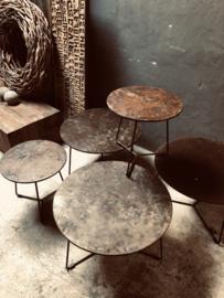 Stoere metalen tafeltjes tafeltje rond industrieel urban stoer grijs bruin grijsbruin