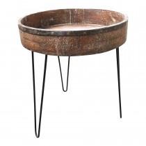 Oud houten ginder op metalen poten tafel tafeltje bijzettafel vintage landelijk oosters 68 x 76 cm hoog stoer industrieel hout metaal
