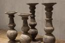 Houten kandelaar bol stompkandelaar L stompkaars grey landelijk stoer vergrijsd hout old