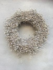Prachtige volle vlaskrans 40 cm landelijk brocant wit witte natuurlijke naturel nature