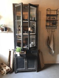 Mooie grote hoge kast met glas servieskast 225 x 78 x 50 cm vitrinekast keukenkast zwart hout landelijk stoer industrieel