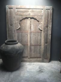 Prachtige grote oude kruik pot vaas 1 meter 100 cm! Landelijk stoer grijs vergrijsd stenen steen olijfpot olijfkruik