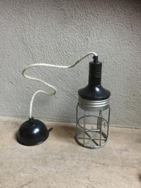 Draadijzeren hanglamp vintage hanglamp zwart zink grijs looplamp model landelijk stoffen sober stoer brocant jute touw kabel nieuw