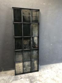 Prachtige grote grijsbruin zwarte zwart metalen spiegel verweerd 182 x 74 x 5 cm stoer industrieel urban landelijk vintage stalraamspiegel kozijn venster wandpaneel wanddecoratie tuinspiegel stalraam