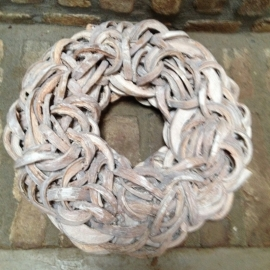 Witte Krans krul Coco cut wreath 35 cm whitewash wit