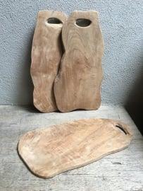 Klein Plateau teakhout houten tapas hapjes plankje plank kaasplank snijplank broodplank landelijk hout