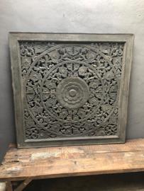 Prachtig groot grijs houten wandpaneel gemaakt 120 x 120 cm landelijk vintage industrieel bruin