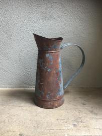 Zinken verzinkte kan schenkkan Brocant stoer vintage landelijke waskan waterkan roest