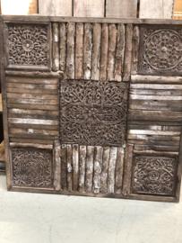 Groot houten Wandpaneel 120 x 120 cm vergrijsd doorleefd boomschors oud hout landelijk stoer vintage