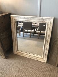 Witte houten spiegel doorgescheurd sleets landelijk Ibiza boho style 82 x 72 cm