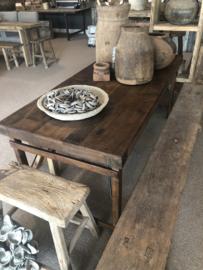 Oude landelijke industriële eettafel naturel 180 x 90 cm hout houten Sidetable bureau buro tuintafel klaptafel werkbank werktafel oud vintage stoer