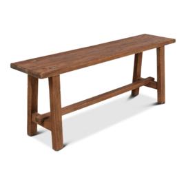 Stoer grof houten bankje bank sidetable landelijk hout 160 x 30 x 49 cm