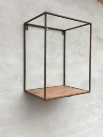 Gaaf smeedijzeren Wandrek nis schap rek plank industrieel landelijk vintage urban stoer ijzer metaal hout houten