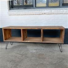 Oud railway vergrijsd doorleefd houten tv meubel televisie kast dressoir kast 150 x 40 x 60 cm landelijk stoer industrieel vintage hout houten metalen pootjes