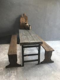 Oud houten bank boerenbank landelijk stoer robuust 180 cm
