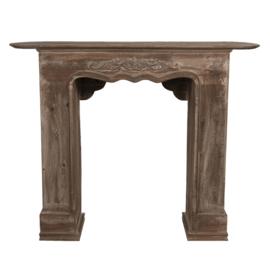 Mooie ( vergrijsd ) houten schouw voorzetschouw open haard kachel hout 125 x 28 x 101 cm landelijk