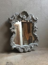 Stoere houten spiegel landelijk Brocant wandspiegel grijs wit