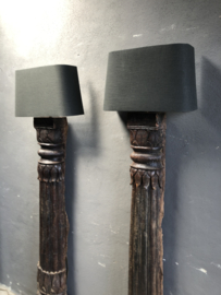 Prachtige prachtige oude houten balusterlampen vloerlamp staande lamp  Wandlamp landelijk stoer robuust vintage