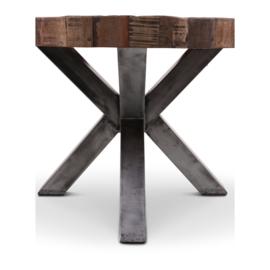 Grote ronde vergrijsd houten tafel eettafel rond 160 cm landelijk stoer robuust grijs hout metalen poot