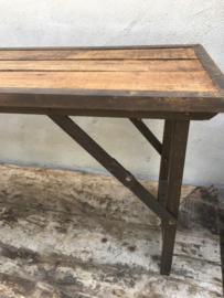 Stoere landelijke houten metalen bank bankje klapbank tuinbank Sidetable bureau buro klaptafel 170cm  tuintafel markttafel industrieel landelijk klaptafel