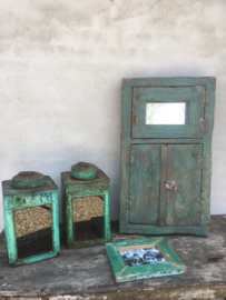 landelijk vintage oud houten kozijn spiegel luiken Wandpaneel wanddecoratie venster hout turkoise turqouise groen groene vintage industrieel