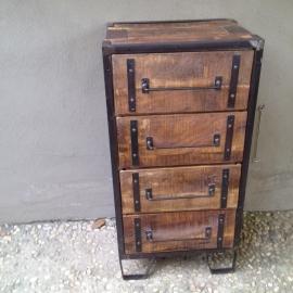 Stoer houten industrieel landelijk ladekastje ladenkastje kastje kast ladenkast vintage Factory ladekast factory metaal hout 4 laden halkastje