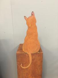 Plaatstalen plaatstaal poes kat kater ijzer cat zittend vensterbank  metaal roest beeld landelijk brocant metalen ijzeren