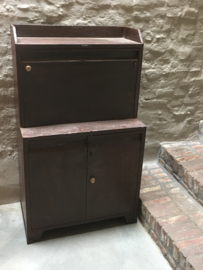 Industrieel oud metalen desk buro bureau vintage kinder kinderkamer werkbank kast landelijk metaal bruin metalen wandkast werkplek