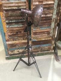 Industriële bruin grijze metalen vloerlamp leeslamp staande lamp industrieel landelijk stoer 100-150 cm