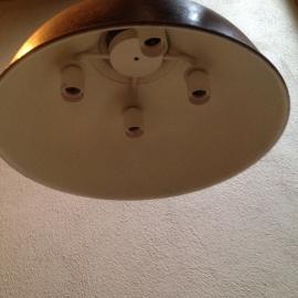 Stoere roestbruine industriele fabriekslamp landelijk 4 lichtpunten ronde kap