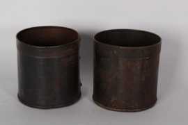 Oud metalen bakje potje bak pot 10 x 12 cm landelijk stoer industrieel roestbruin