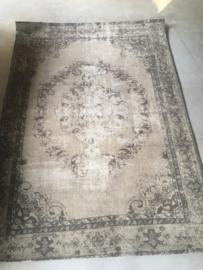 Vintage khaki army groen grijs beige olijf tapijt kelim vloerkleed sleets wandkleed 230 x 160 cm