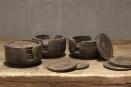 Set van 6 houten onderzetters in houder landelijk stoer vergrijsd