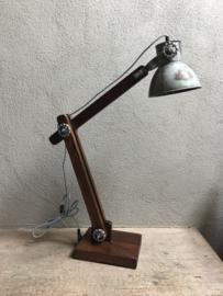 Grote Vintage industriële lamp leeslamp tafellamp wandlamp bedlamp bedlampje tafellamp Burolamp bureaulamp landelijk industrieel hout metaal zink zinken