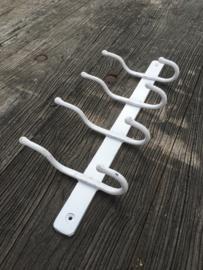 Smeedijzeren kapstok wandkapstok wandhaken landelijk stoer wit witte  4 haken
