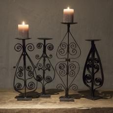 Zwarte smeedijzeren kandelaar oud hek stompkaars ornament kaarsenhouder landelijk industrieel vintage urban