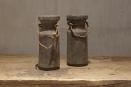 Oude vergrijsd houten kandelaar Nepal pot kruik touw landelijk stoer sober groot large
