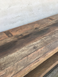 Oud railway vergrijsd doorleefd houten tv meubel televisie kast dressoir kast 140 x 45 x 44 cm landelijk stoer industrieel vintage hout houten metalen pootjes