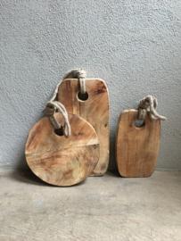 Houten Broodplank aan grof jute touw koord landelijke stijl