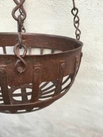 Degelijke metalen hanging basket plantenhanger fruitmand landelijk industrieel mand korf