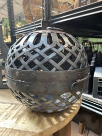 Smeedijzeren bol bal kandelaar hanger 20 cm landelijk stoer industrieel