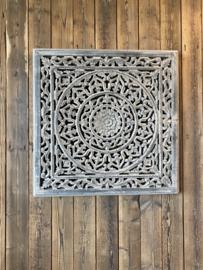 Vierkant houten paneel Wandpaneel licht grijs light grey ash Grey wandornament tegel 60 x 60 cm wandornament landelijk Mandela afbeelding landelijk