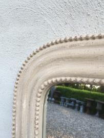 Prachtige houten spiegel beige landelijk wandspiegel