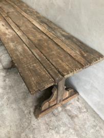 Hele stoere grove vergrijsd houten tafel eettafel 300 x 74 x H80 cm sidetable stoer landelijk robuust geleefd