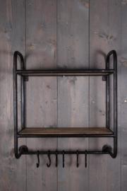 Metalen wandrek keukenrek wandkapstok kapstok rek rekje schap 55 x 24 x H58 cm met houten planken en haakjes landelijk industrieel