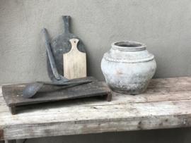 Stoere oude vergrijsd vergrijsde hout houten sidetable buro bureau klaptafel doorleefd industrieel markttafel landelijk hout metaal