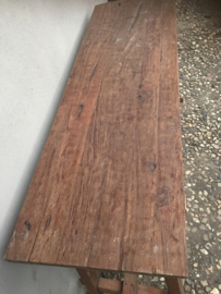 Stoere oude teakhouten Sidetable buro bureau landelijk stoer vintage 140 cm