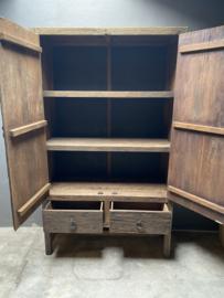Prachtige houten 2 deuren en 2 laden kast grote kast 190x120x45cm stoer landelijk robuust industrieel