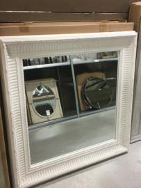 Prachtige grote vierkante houten spiegel 100 x 100 cm wit witte landelijk houten sierlijst