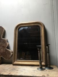 Prachtige spiegel matgoud/brons lijst brocant chique landelijk